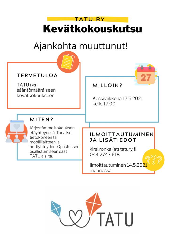Kevätkokouskutsu, jossa TATU ry:n leija-logo. Teksti sama kuin sivulla.